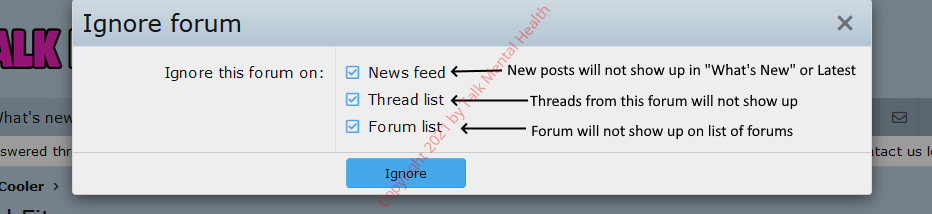 [Talk Mental Health.com] How to Ignore Forums
